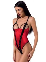 Passion Femmina: Ouvert-Stringbody, rot/schwarz