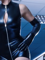 Patrice Catanzaro: Wetlook-Handschuhe, schwarz