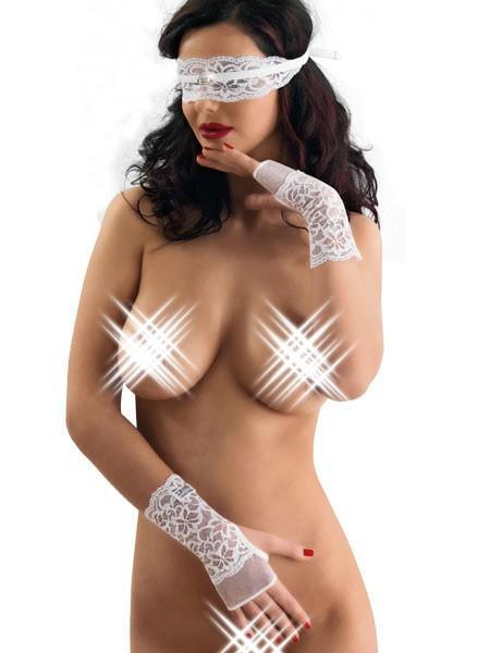 Eros Veneziani Emilia: Augenbinde und Handschuhe, weiß