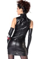Patrice Catanzaro Uzi: Wetlook-Minikleid, schwarz
