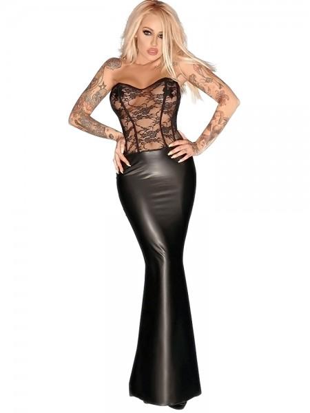 Noir Handmade: Wetlook-Spitze-Abendkleid, schwarz