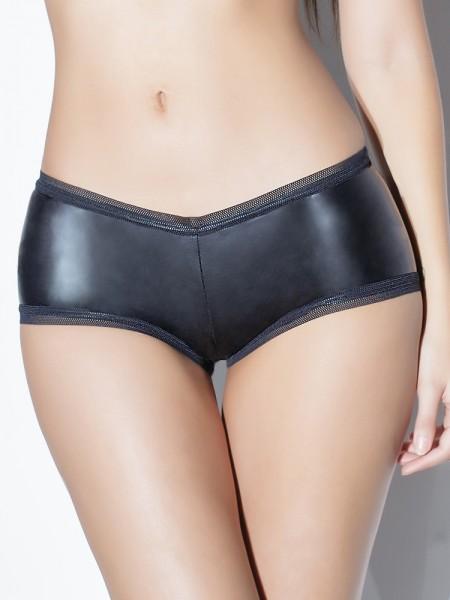 Coquette: Wetlook-Panty, schwarz