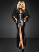 Noir Handmade: Wetlook-Abendkleid, schwarz