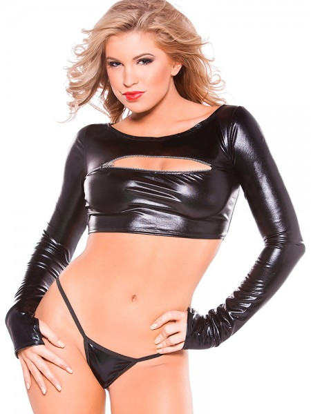 Kitten: Wetlook-Zipper-Top, schwarz