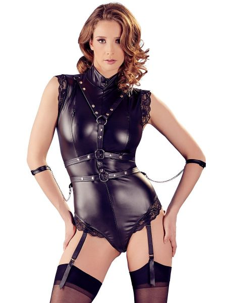 Wetlook-Strapsbodyset, schwarz