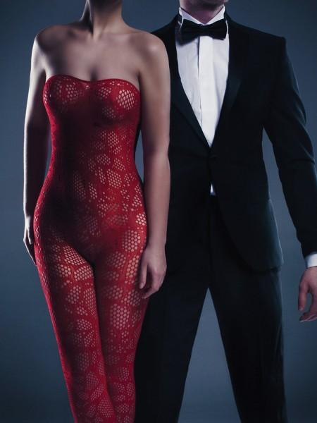 Le Désir Alina: Netz-Catsuit, rot