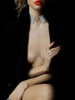 Bijoux Indiscrets The Magnifique: Halsfessel mit Kette, silber