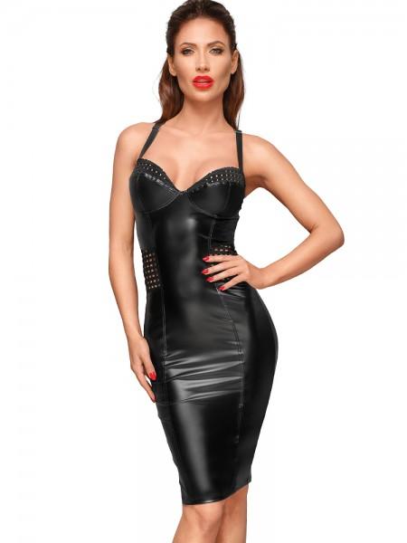 Noir Handmade: Wetlook-Kleid F180, schwarz