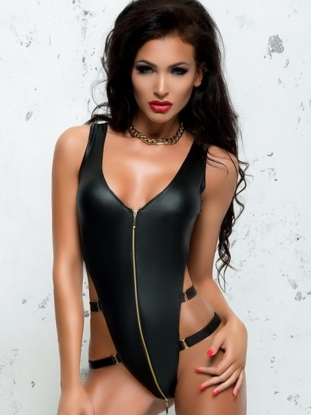 MeSeduce Wetlook-Stringbody: Blanche, schwarz