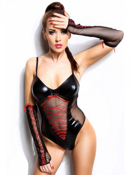 Demoniq Wetlook-Body: Evelyne, schwarz
