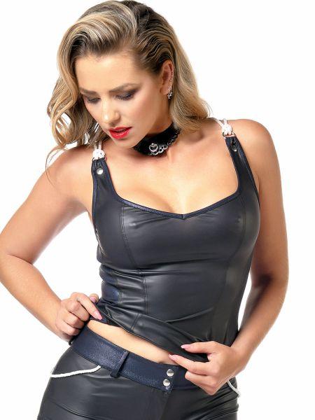 Patrice Catanzaro Peggy: Wetlook-Top, schwarz