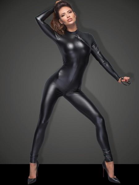 Noir Handmade: Wetlook-Catsuit mit Führleine F162, schwarz
