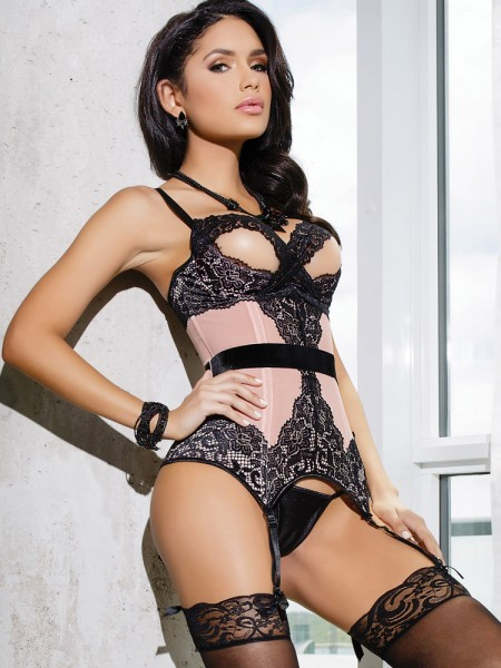 Coquette Ouvert-Strapshemd: Sensual Blush & Lace, rosa/schwarz