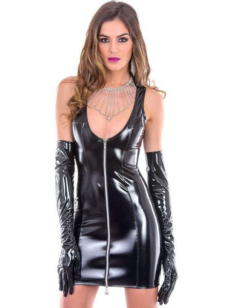 Patrice Catanzaro Roxy: Lack-Minikleid, schwarz