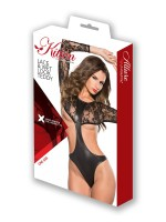 Kitten: Wetlook-Spitzen-Stringbody, schwarz
