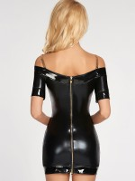 7-Heaven Wetlook-Minikleid: Diadema, schwarz