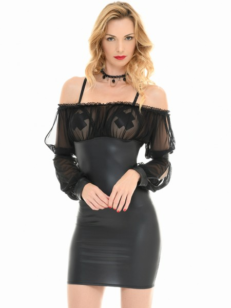 Patrice Catanzaro Edith: Wetlook-Netz-Minikleid, schwarz