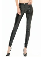 Patrice Catanzaro Rocker: Lack-Leggings, schwarz