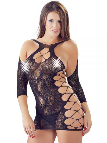 Netz-Minikleid, schwarz