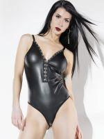 Coquette: Ouvert-Wetlook-Body, schwarz