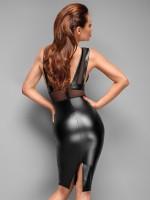 Noir Handmade: Wetlook-Netz-Kleid, schwarz