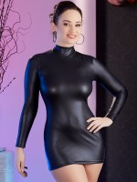 Langarm-Minikleid, schwarz