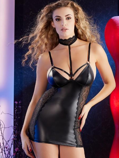 Minikleid mit Spitze, schwarz