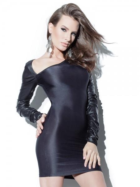 Coquette: Minikleid mit Wetlook-Ärmeln, schwarz