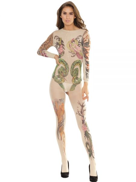 Coquette Elite: Ouvert-Tattoo-Catsuit, haut/tattoo