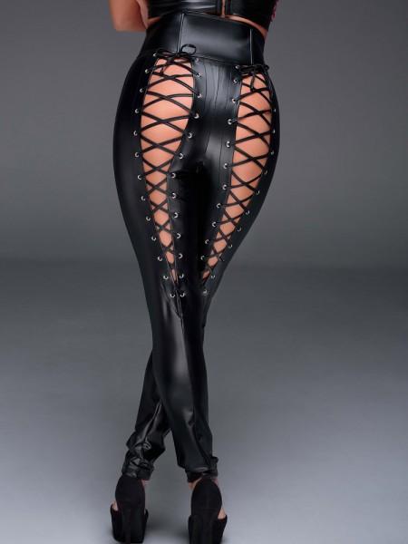 Noir Handmade: Wetlook-Leggings mit Schnürung F148, schwarz
