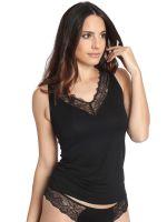 Sassa Bamboo & Lace: Top, schwarz