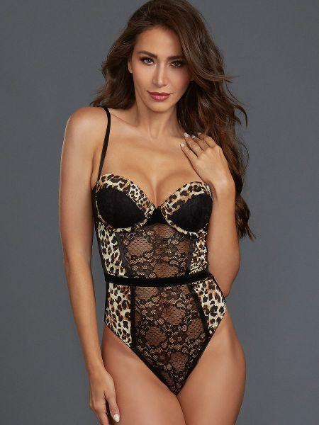 Dreamgirl Stringbody, schwarz/leopard