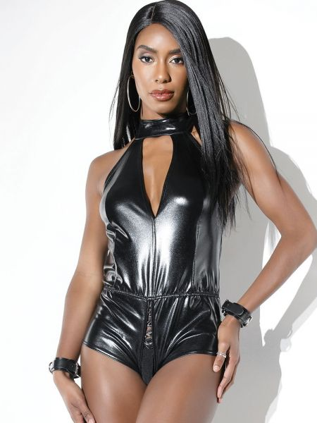 Coquette: Wetlook-Ouvert-Body, schwarz