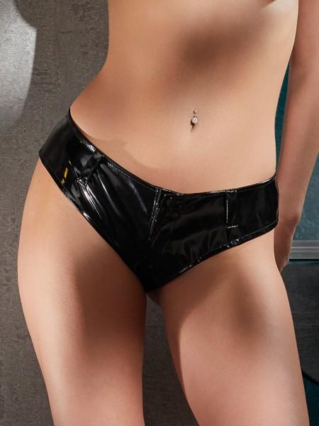 Lack-Pants mit Reißverschluss, schwarz