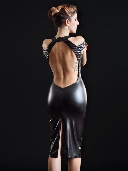 Patrice Catanzaro Smoothie: Netz-Vinyl-Kleid, schwarz