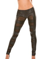 Allure: Wetlook-Netz-Leggings, schwarz