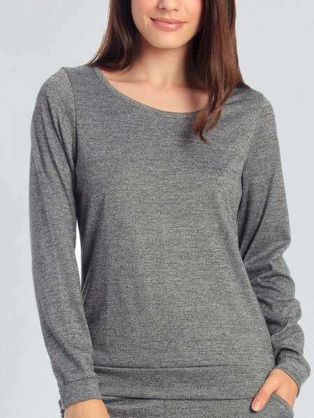 Sassa Elegant Melange: Lounge Shirt, grau
