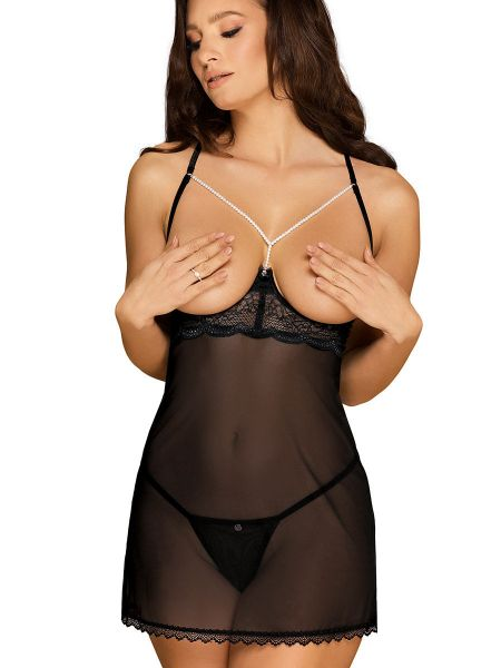 Obsessive Pearlove: Ouvert-Chemise, schwarz