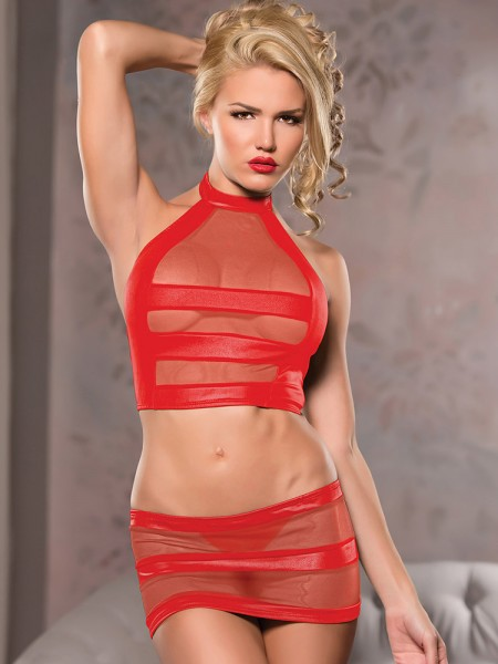 Allure: Wetlook-Netz-Set, rot