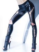 Coquette: Wetlook-Leggings mit Schnürung, schwarz