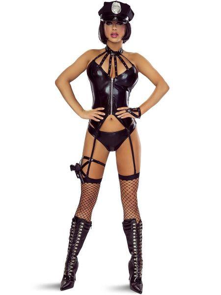 Provocative PR1307: Polizei-Kostüm 6-teilig, schwarz