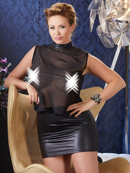 Netz-Wetlook-Minikleid, schwarz