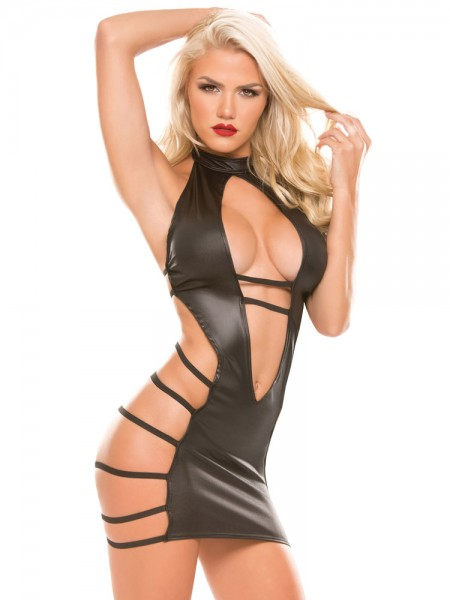 Kitten: Wetlook-Minikleid, schwarz