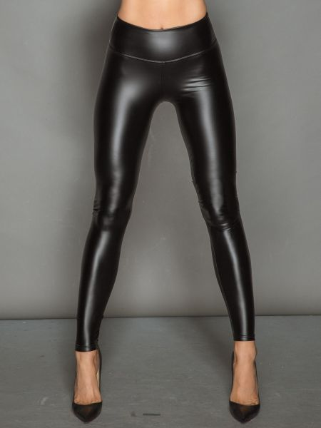 Noir Handmade: Wetlook-Leggings, schwarz