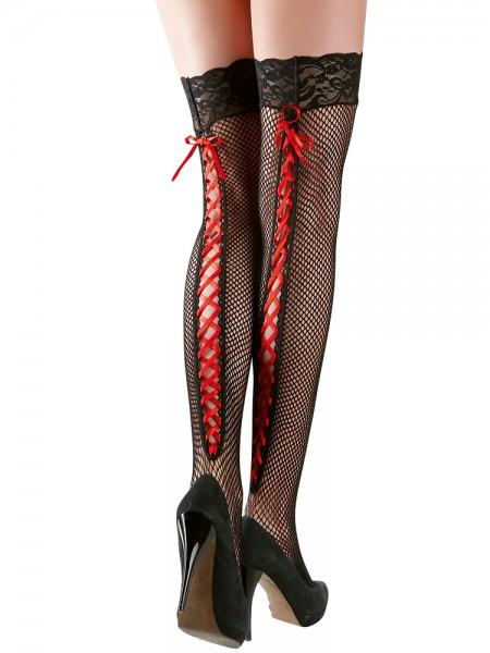 Halterlose Netzstrümpfe mit Schnürung, schwarz/rot