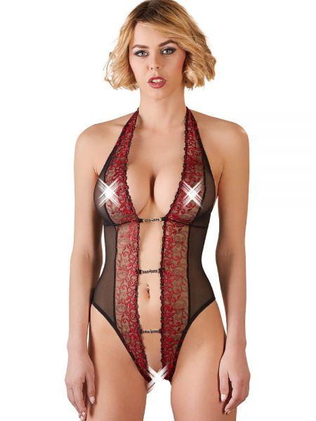 Ouvert-Spitzen-Body, schwarz/rot