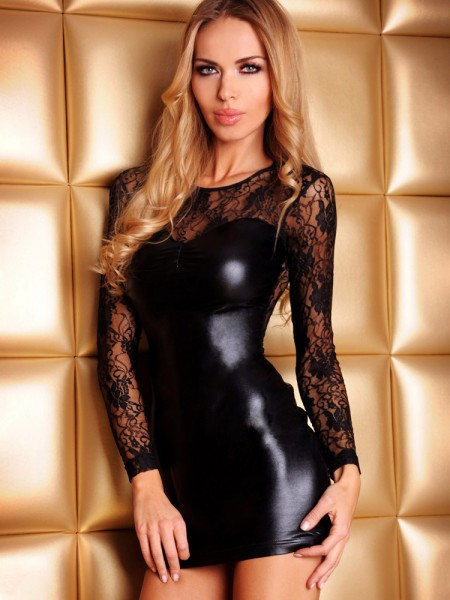 7-Heaven Wetlook-Spitzen-Minikleid: Paule, schwarz