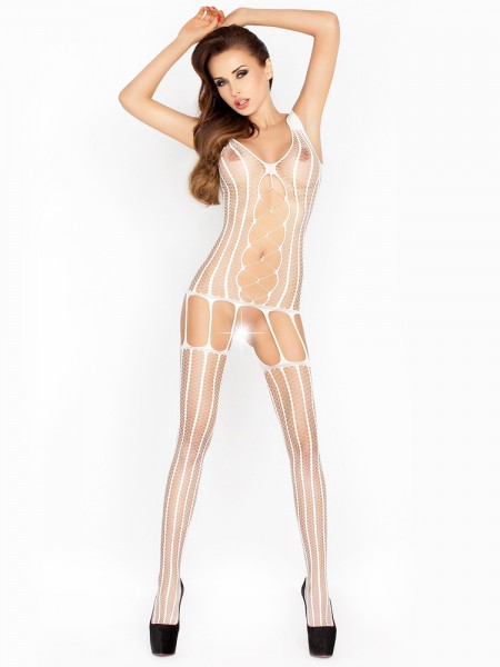 Passion BS013: Straps-Catsuit, weiß
