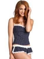 Leg Avenue: Hemdchen-Set, blau/weiß