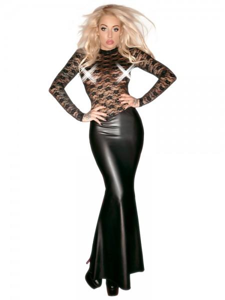 Noir Handmade: Wetlook-Spitzen-Kleid, schwarz
